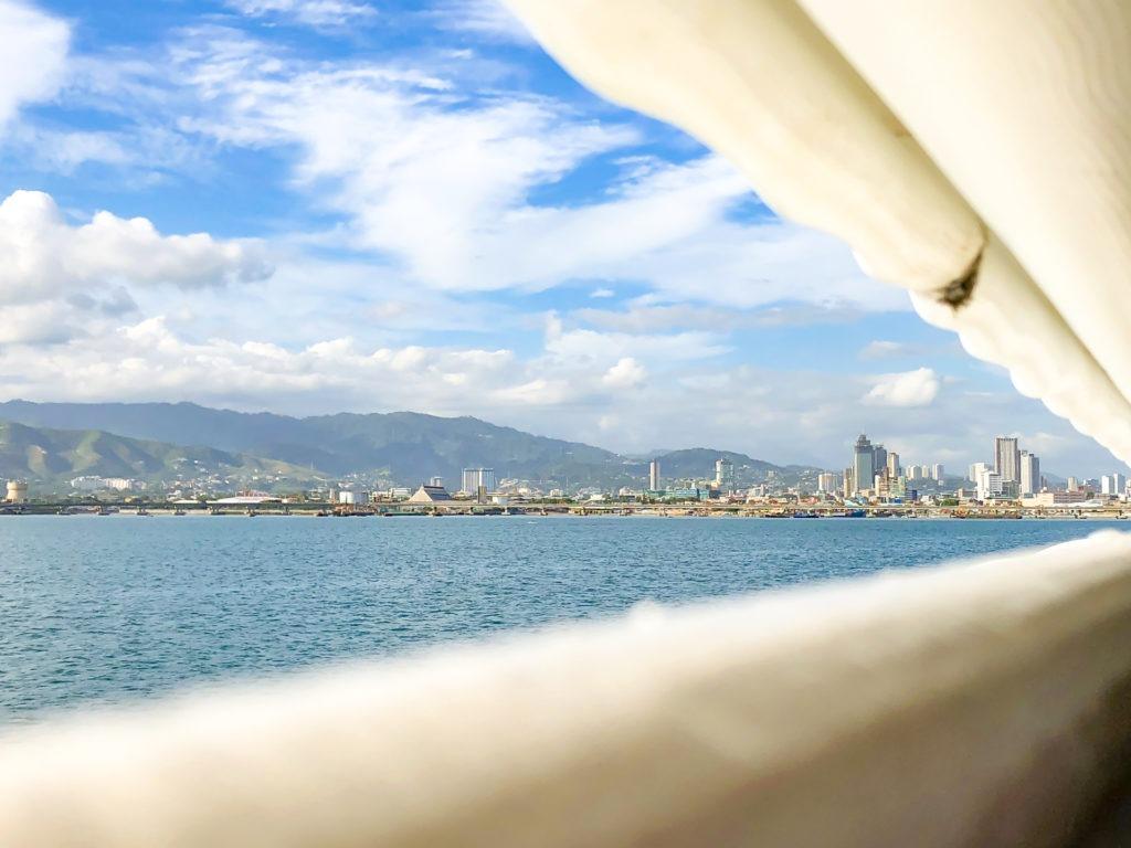 Views to the Cebu City from the Bohol ferry