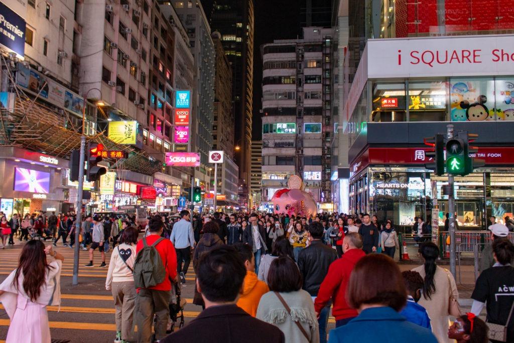 crowd in Hong Kong