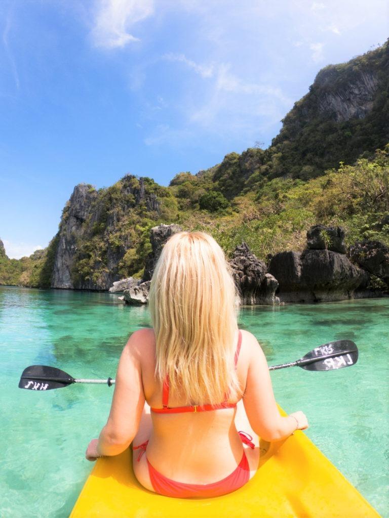 Kayaking in Big Lagoon in El Nido, Philippines